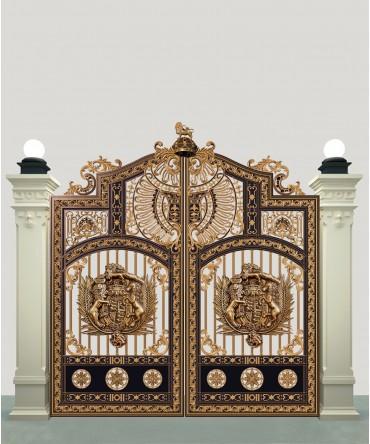 Cổng nhôm đúc phù điêu Buckingham 2 cánh