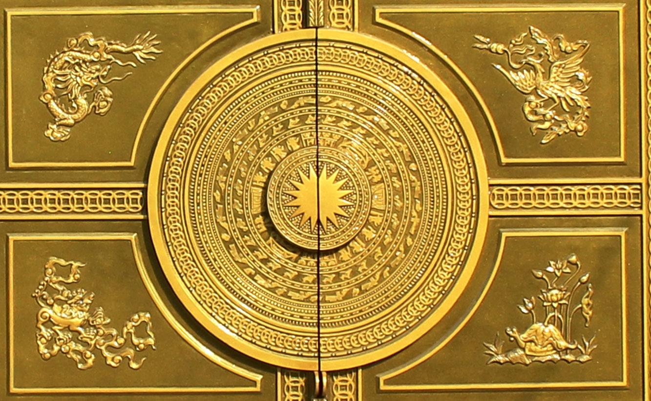 Cổng nhôm đúc trống đồng tứ linh